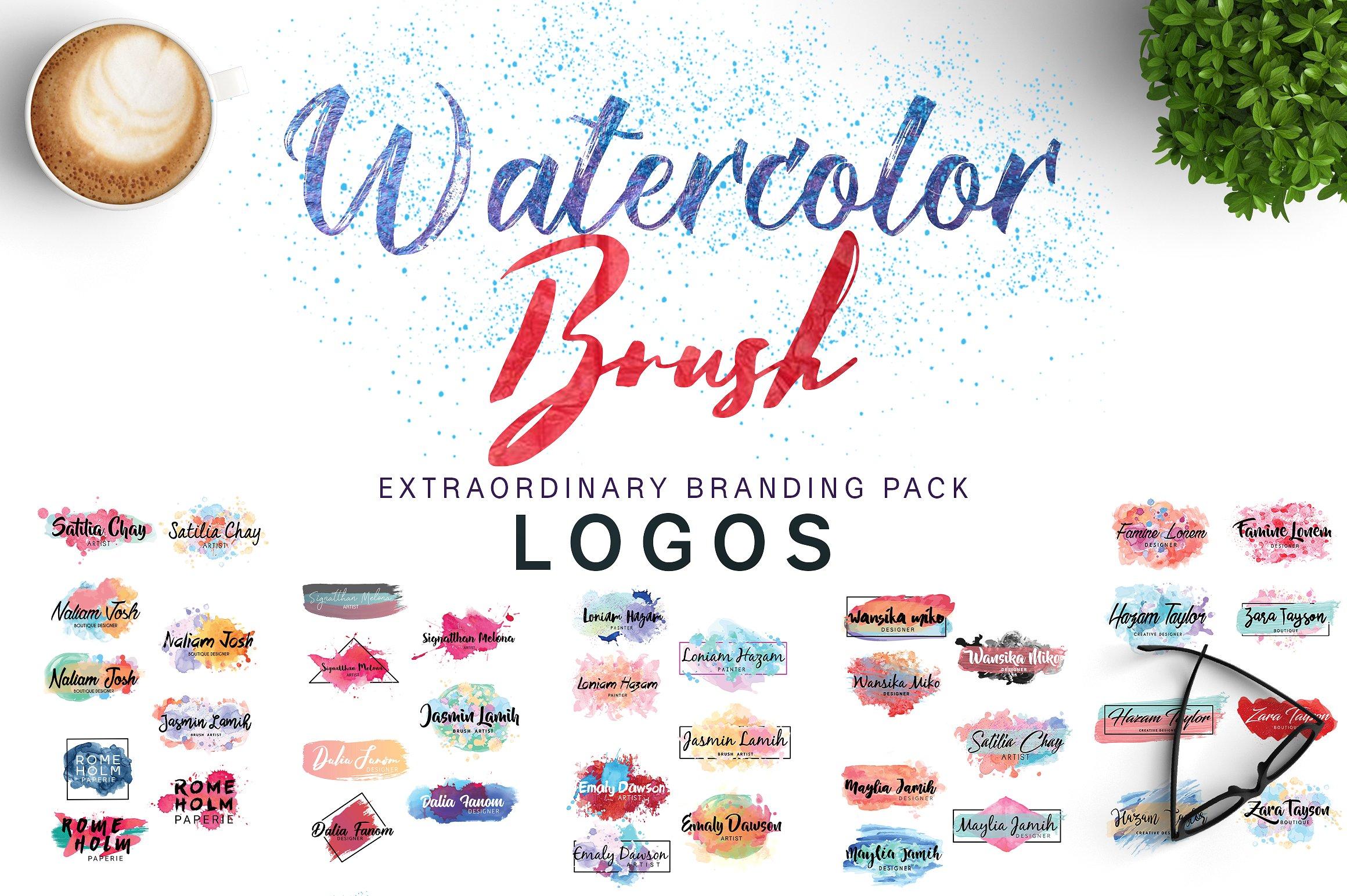 Watercolor and Brush Logos